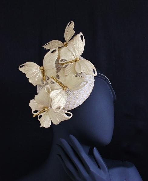 5746c79b8eff07 Golden butterfly cocktail hat - PresentPerfect Creations   Original ...