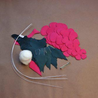 leather pompom rose kit hot pink