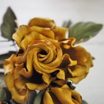 Spray of leather roses in yellow