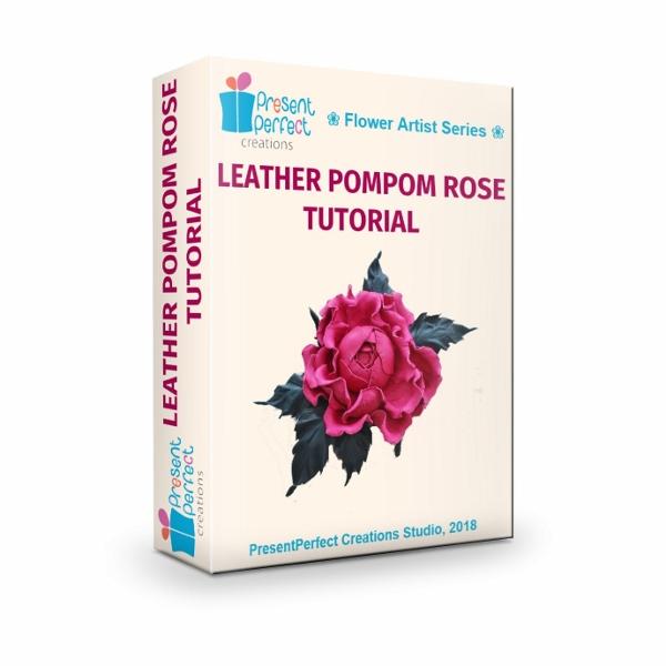 leather pompom rose tutorial
