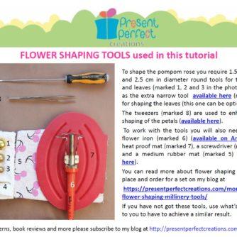 leather pompom rose tutorial tools