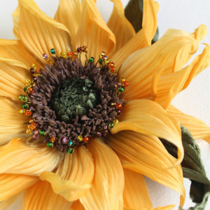 silk sunflower brooch