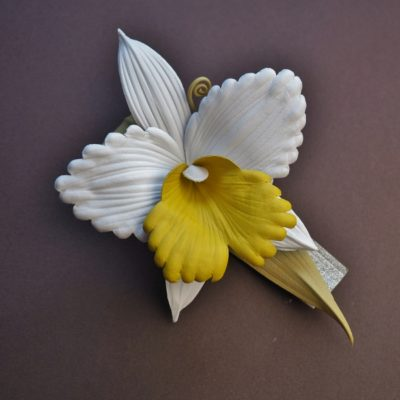 leather Cattleya orchid brooch
