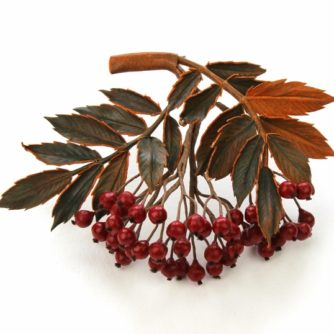 Leather rowan berry brooch