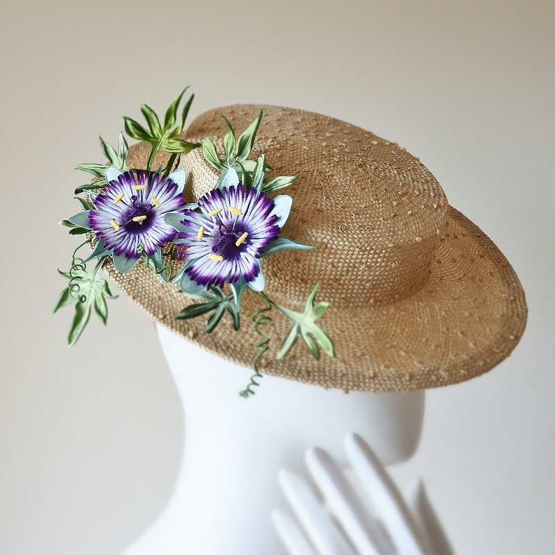 Silk Passion Flower Straw Boater