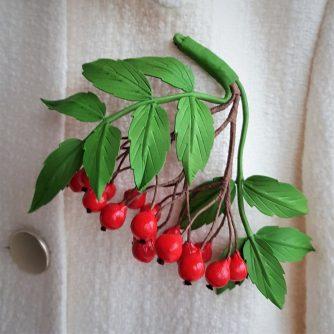 leather rowanberries brooch