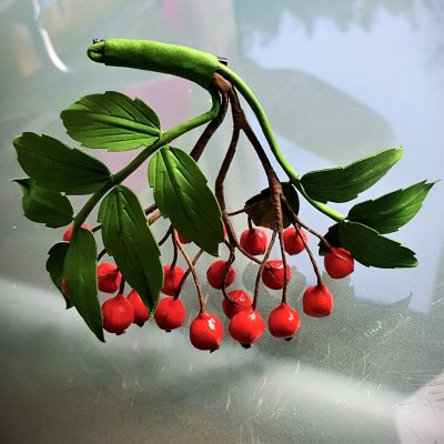 leather rowanberries brooch