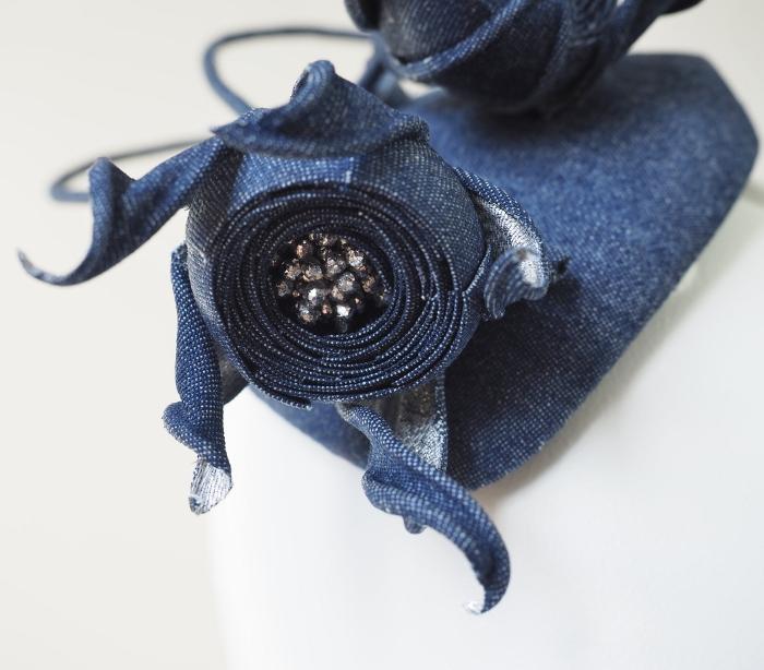 denim hat with roses