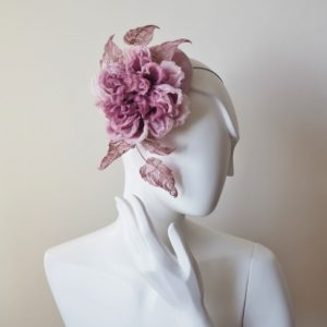 dusky pink silk rose hat