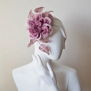 dusky pink silk rose hat