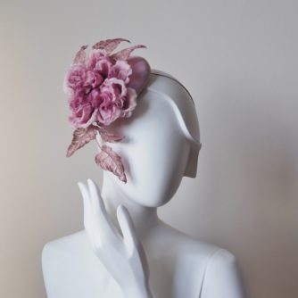 dusky pink marshmallow rose hat