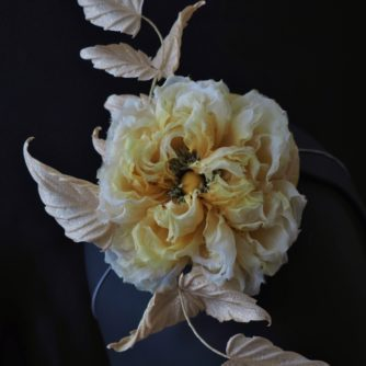 yellow silk rose hat