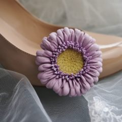 leather flower shoe clips with gerberas