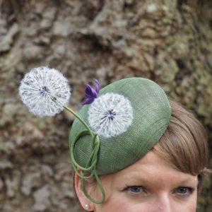 silk dandelion clock button hat