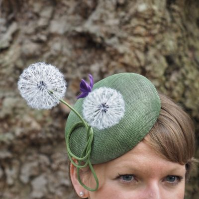 silk dandelion clock button hat