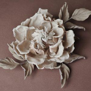 Linen rose corsage