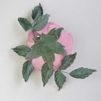 linen English rose brooch back