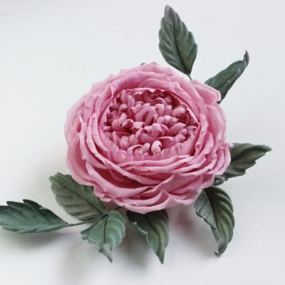 linen English rose brooch