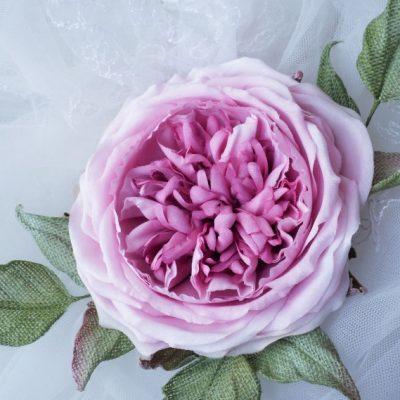 linen English rose brooch