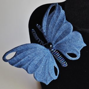 denim butterfly brooch