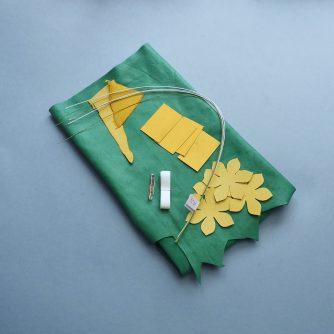 leather daffodil corsage DIY kit