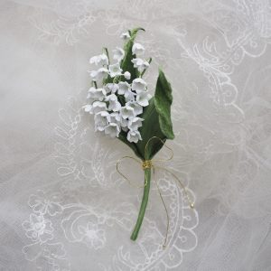 fabric lily of the valley brooch