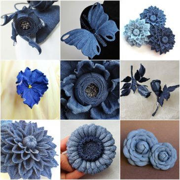 denim flowers