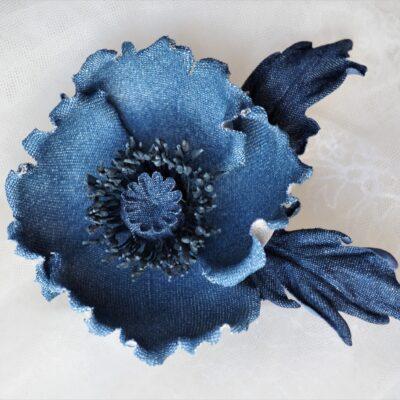 denim flowers poppy