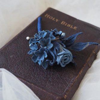 new denim wedding buttonhole 1