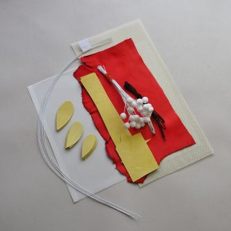 diy kit for making leather rowanberry brooch yellow