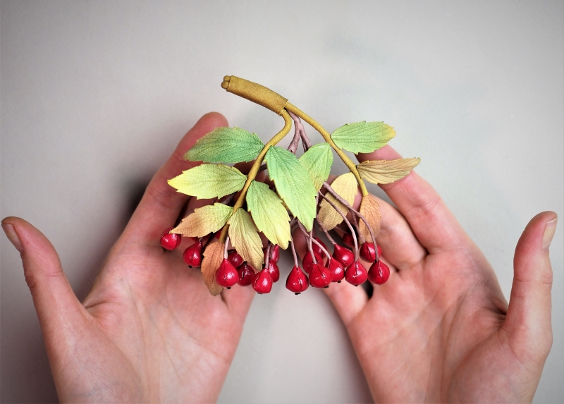 leather rowanberry brooch