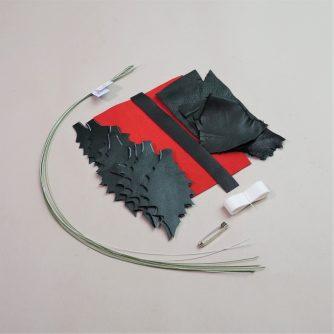 leather holly brooch DIY kit