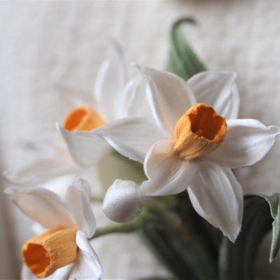 silk daffodils closeup