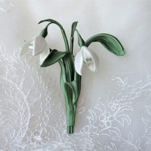 silk snowdrop brooch