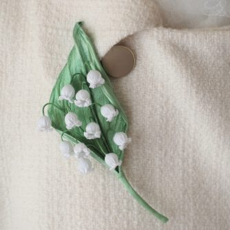 cotton lily of the valley brooch coat
