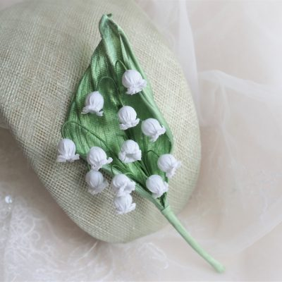 cotton lily of the valley brooch