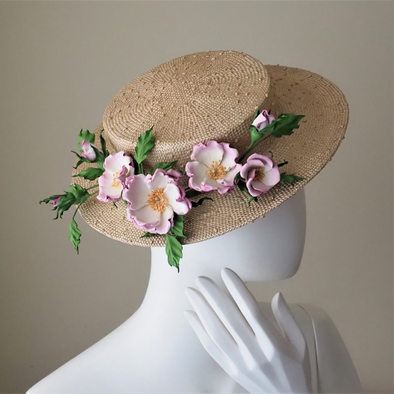 leather ballerina rose hat trim
