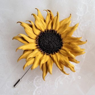 mini leather sunflower