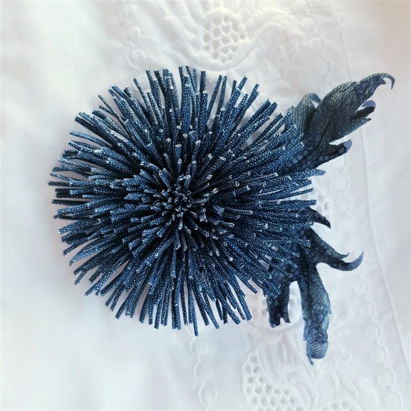 denim chrysanthemum brooch