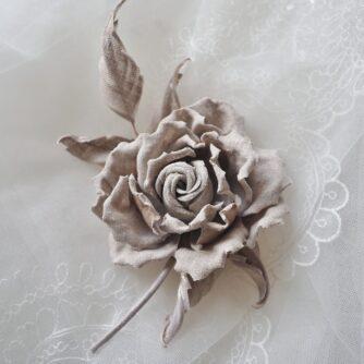 undyed linen rose corsage
