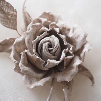 undyed linen rose corsage closeup