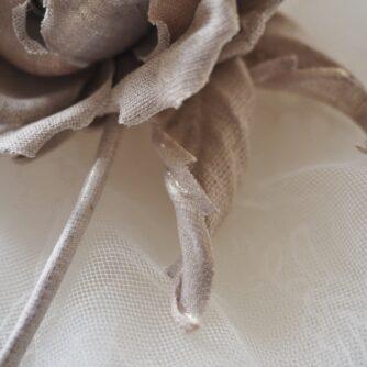 undyed linen rose corsage detail